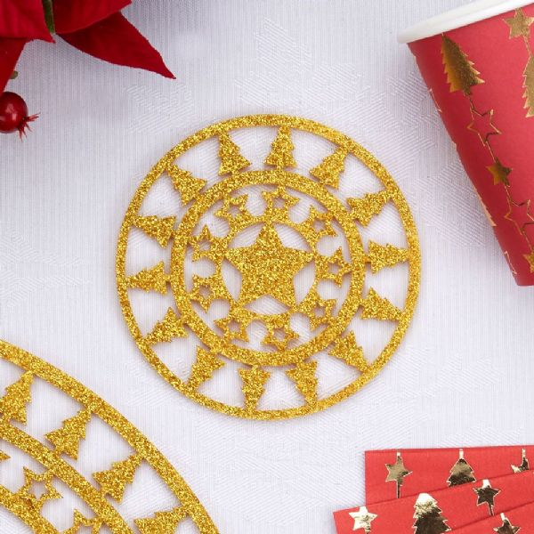 Dazzling Christmas Gold Coasters (4)